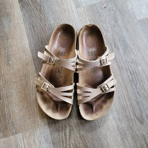 Birki's Birkenstock Moorea Rose Gold Sandals 40